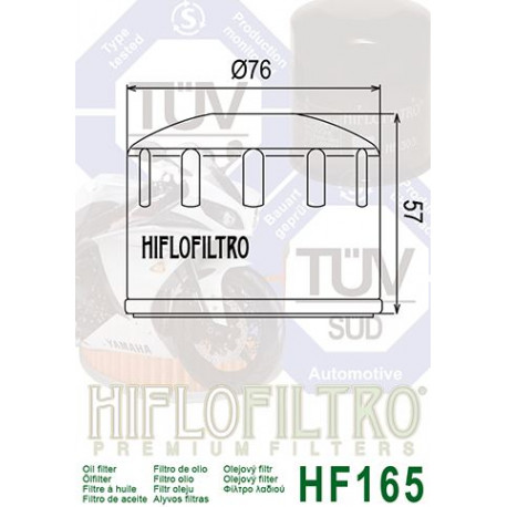 Filtre à huile Hiflofiltro HF165 BMW F800GS/F800ST