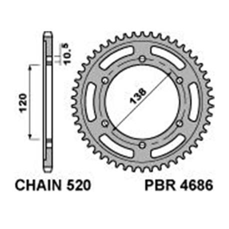 Couronne PBR 36 dents acier standard pas 520 type 4686